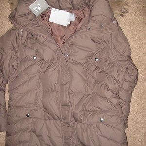 NEW w/Tags Down Parka Coat Fur Hood XL L Brown 650